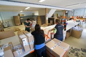 voor het verzenden van de orders tot  30 kg gebruikt De Wit 15 verschillende doosformaten.